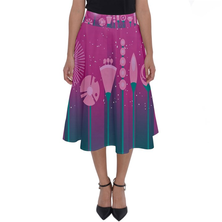 Floral Flowers Abstract Pink Perfect Length Midi Skirt