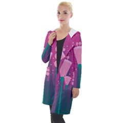 Floral Flowers Abstract Pink Hooded Pocket Cardigan by Pakrebo
