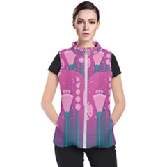 Floral Flowers Abstract Pink Women s Puffer Vest