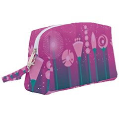Floral Flowers Abstract Pink Wristlet Pouch Bag (large)