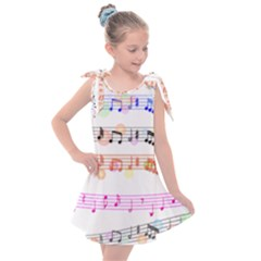 Music Background Music Note Kids  Tie Up Tunic Dress