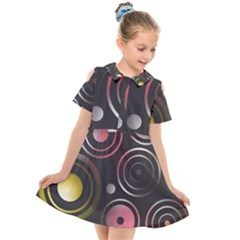 Circles Pinks Yellows Design Kids  Short Sleeve Shirt Dress
