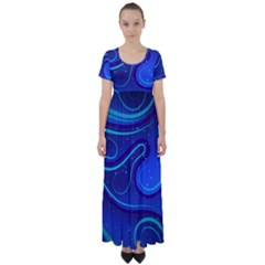Wavy Abstract Blue High Waist Short Sleeve Maxi Dress by Pakrebo