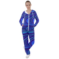 Wavy Abstract Blue Women s Tracksuit