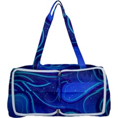 Wavy Abstract Blue Multi Function Bag