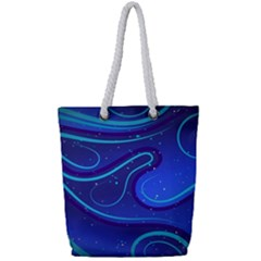 Wavy Abstract Blue Full Print Rope Handle Tote (small)