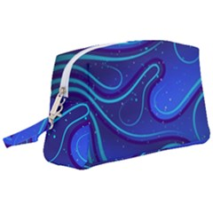 Wavy Abstract Blue Wristlet Pouch Bag (large)