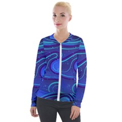 Wavy Abstract Blue Velour Zip Up Jacket
