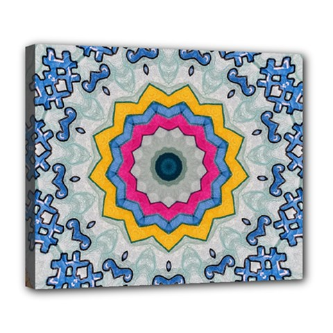 Kaleidoscope Bright Flower Mandala Deluxe Canvas 24  X 20  (stretched)