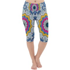 Kaleidoscope Bright Flower Mandala Lightweight Velour Cropped Yoga Leggings
