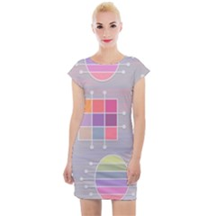 Pastels Shapes Geometric Cap Sleeve Bodycon Dress