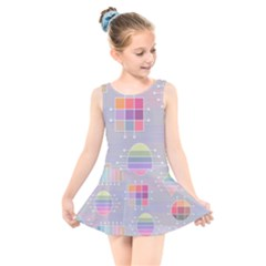 Pastels Shapes Geometric Kids  Skater Dress Swimsuit