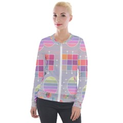Pastels Shapes Geometric Velour Zip Up Jacket