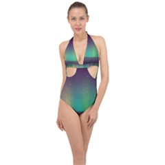 Background Colors Abstract Green Halter Front Plunge Swimsuit