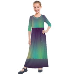 Background Colors Abstract Green Kids  Quarter Sleeve Maxi Dress