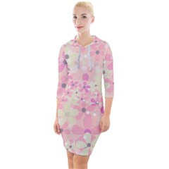 Background Floral Non Seamless Quarter Sleeve Hood Bodycon Dress