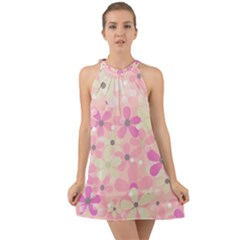 Background Floral Non Seamless Halter Tie Back Chiffon Dress