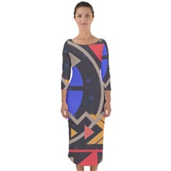 Background Abstract Colors Shapes Quarter Sleeve Midi Bodycon Dress
