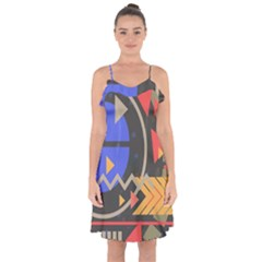 Background Abstract Colors Shapes Ruffle Detail Chiffon Dress