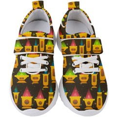 Pattern Non Seamless Objects Pots Kids  Velcro Strap Shoes