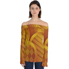 Background Abstract Shapes Circle Off Shoulder Long Sleeve Top by Pakrebo