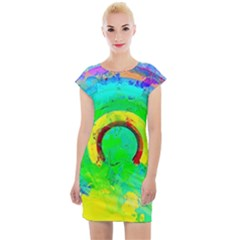 Abstract Color Design Background Cap Sleeve Bodycon Dress