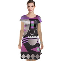 Background Abstract Geometric Cap Sleeve Nightdress