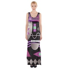 Background Abstract Geometric Maxi Thigh Split Dress by Pakrebo