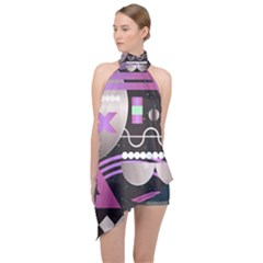 Background Abstract Geometric Halter Asymmetric Satin Top by Pakrebo