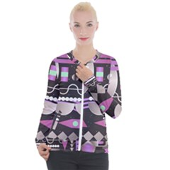 Background Abstract Geometric Casual Zip Up Jacket