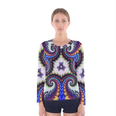 Abstract Texture Fractal Figure Women s Long Sleeve Tee by Pakrebo