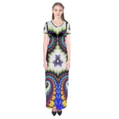 Abstract Texture Fractal Figure Short Sleeve Maxi Dress