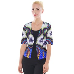 Abstract Texture Fractal Figure Cropped Button Cardigan
