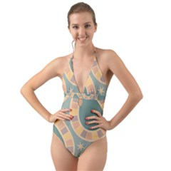 Background Pattern Non Seamless Halter Cut Out One Piece Swimsuit