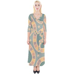 Background Pattern Non Seamless Quarter Sleeve Wrap Maxi Dress