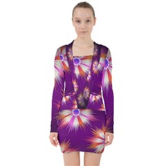 Floral Non Seamless Pattern Purple V Neck Bodycon Long Sleeve Dress