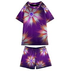 Floral Non Seamless Pattern Purple Kids  Swim Tee And Shorts Set