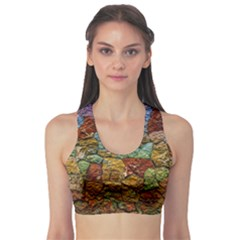 Texture Stone Structure Pattern Sports Bra