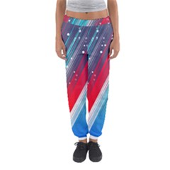Abstract Red White Blue Feathery Women s Jogger Sweatpants by Pakrebo