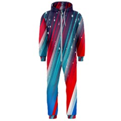 Abstract Red White Blue Feathery Hooded Jumpsuit (men)