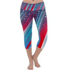 Abstract Red White Blue Feathery Capri Yoga Leggings by Pakrebo