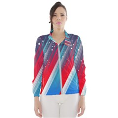 Abstract Red White Blue Feathery Women s Windbreaker