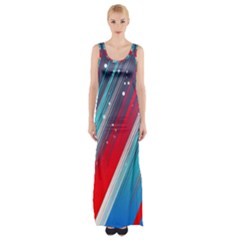 Abstract Red White Blue Feathery Maxi Thigh Split Dress by Pakrebo