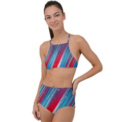 Abstract Red White Blue Feathery High Waist Tankini Set