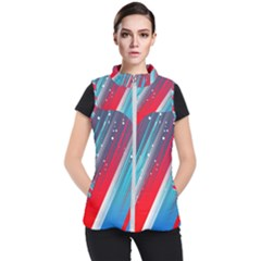 Abstract Red White Blue Feathery Women s Puffer Vest