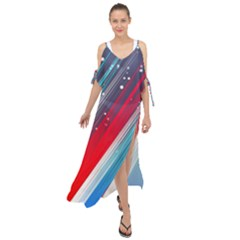 Abstract Red White Blue Feathery Maxi Chiffon Cover Up Dress
