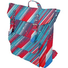 Abstract Red White Blue Feathery Buckle Up Backpack