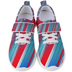 Abstract Red White Blue Feathery Women s Velcro Strap Shoes