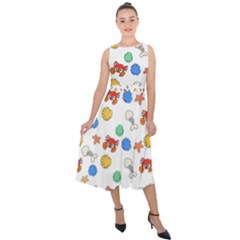 Crabs Pattern Midi Tie Back Chiffon Dress by Valentinaart