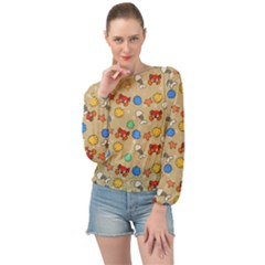 Crabs Pattern Banded Bottom Chiffon Top by Valentinaart